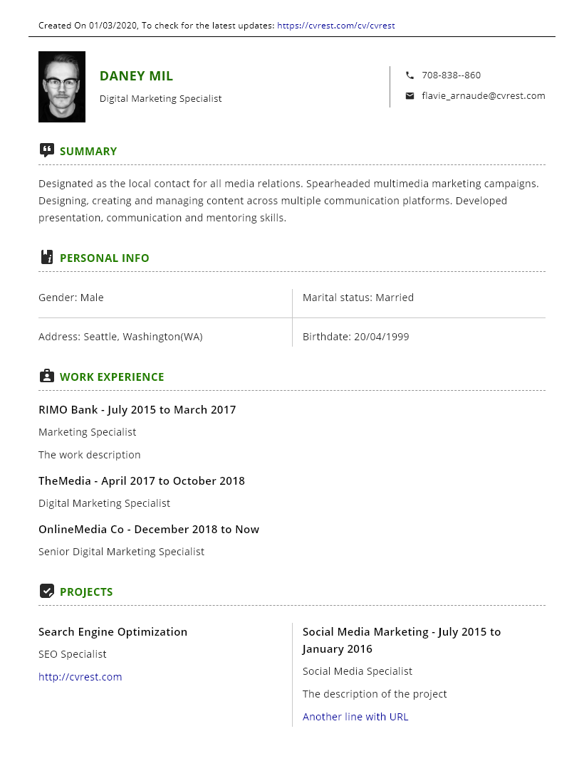 Simple green professional CV template