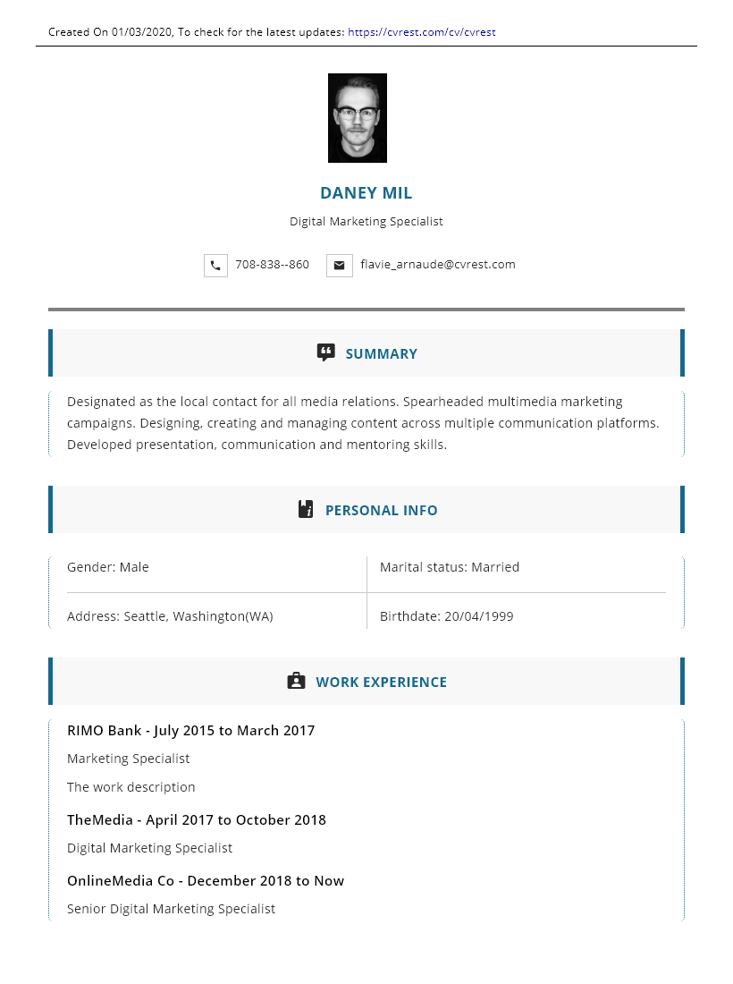 centralized blue professional CV template