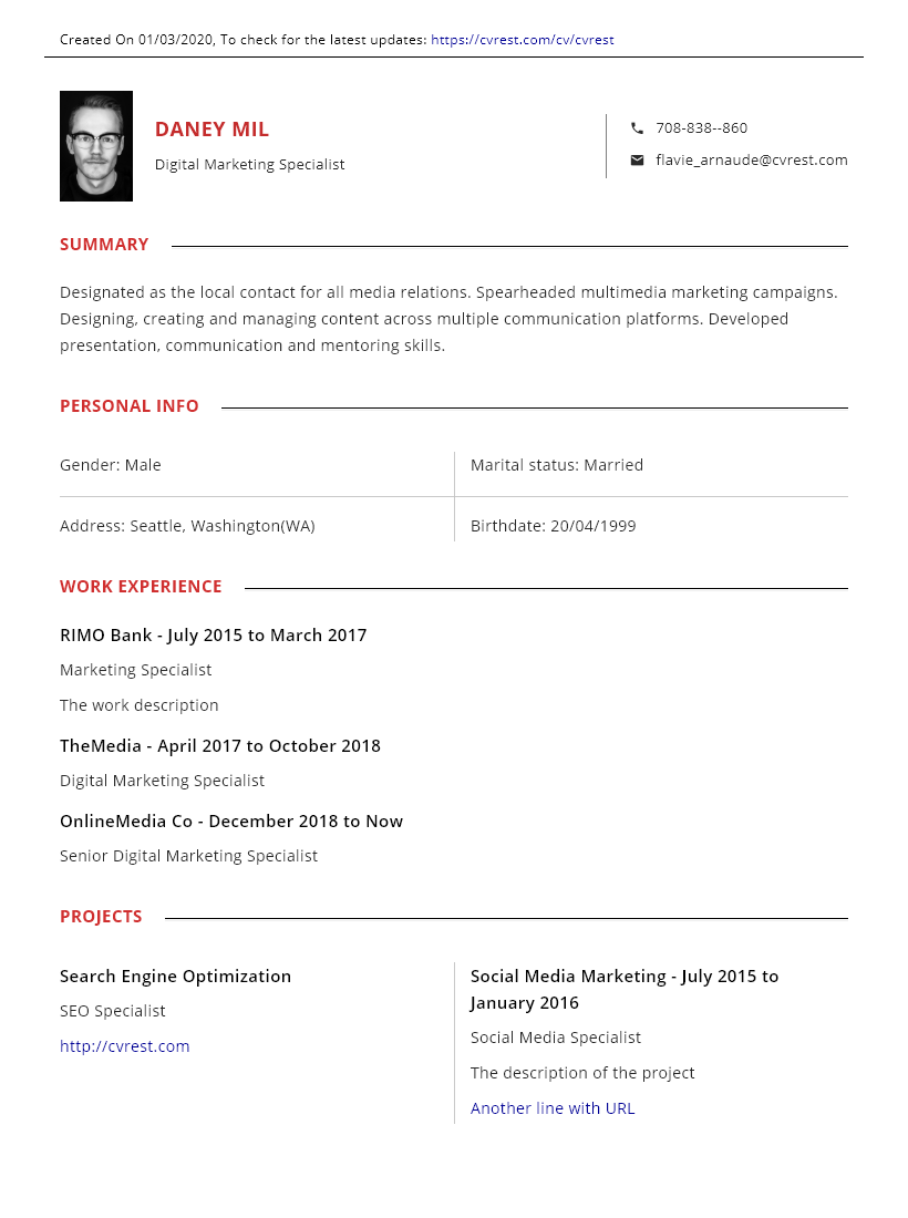 Red professional CV template