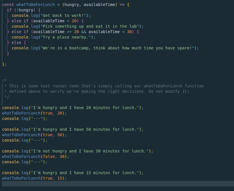 The first piece of code I got reviewed by a mentor via assistance request, a conditional lunch decision maker!
