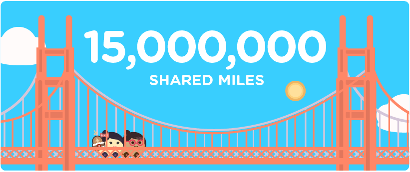 15,000,000 shared miles in the Bay Area
