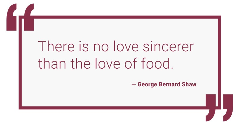 """""""There is no love sincerer that the love of food""""—George Bernard Shaw"""