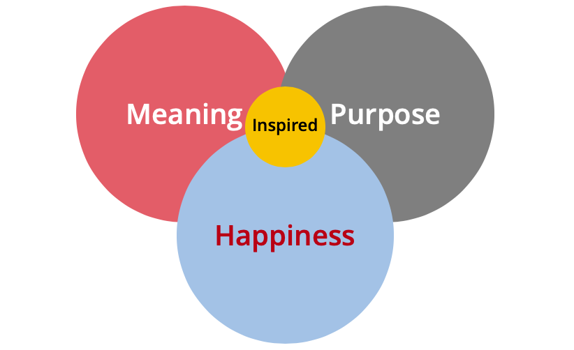 Define success in terms of meaning, purpose and happiness, the intersection of which makes you inspired.
