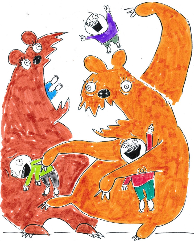 Whimsical illustration of colorful monsters with children with expressive faces.