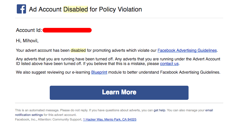 Facebook Safety Switch — Minimising The Damage If Your Ad