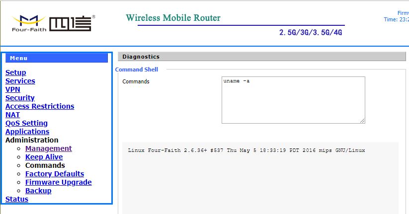 Four Faith Industrial routers Command Injection RCE Reverse