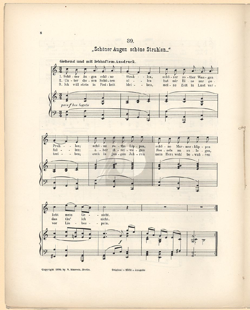 Scan of the first page of the song 'Schöner Augen schöne Strahlen' in the first edition