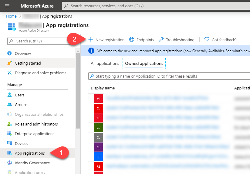 Image showing steps to register a new app in Azure