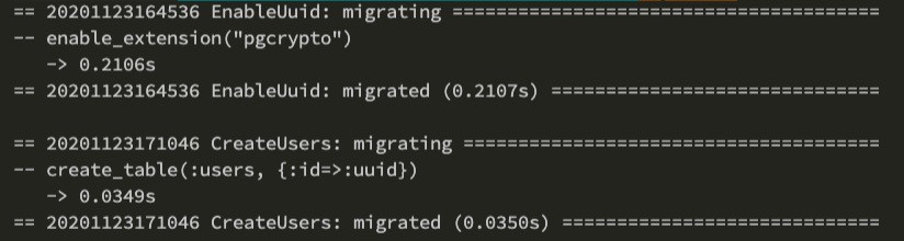 console printed text showing successful migrations of pgcrypto extension, users