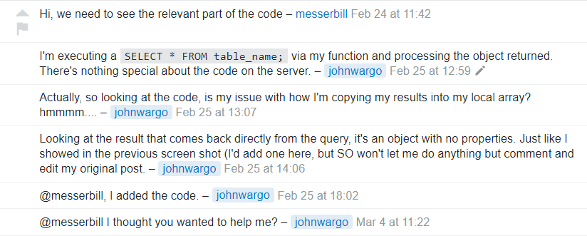 A portion of a conversation on Stack Overflow.