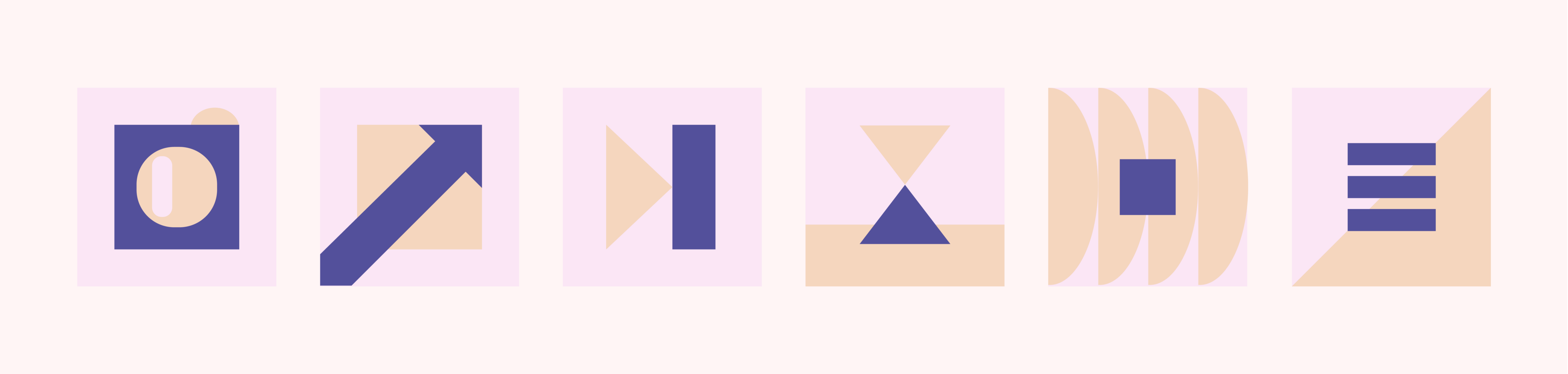 6 boxes with geometric shapes that abstractly represent the concepts below, e.g. a square within a square for tv