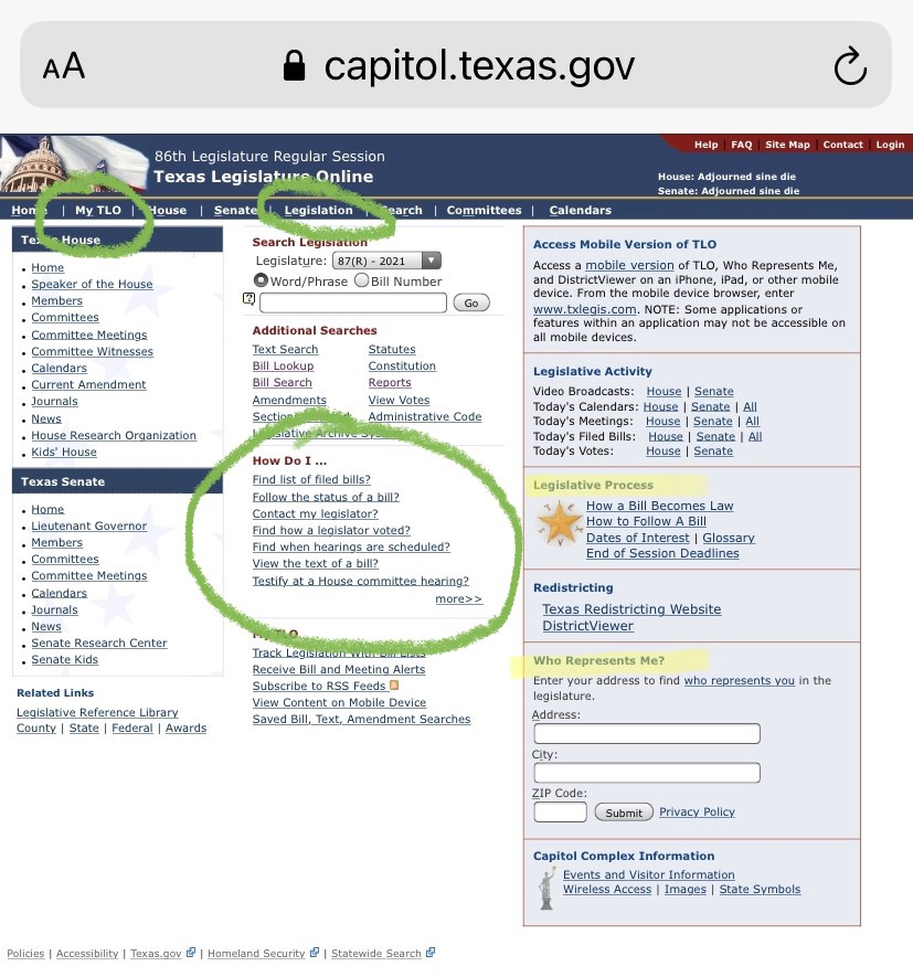 Texas Legislature Online homepage with key features highlighted