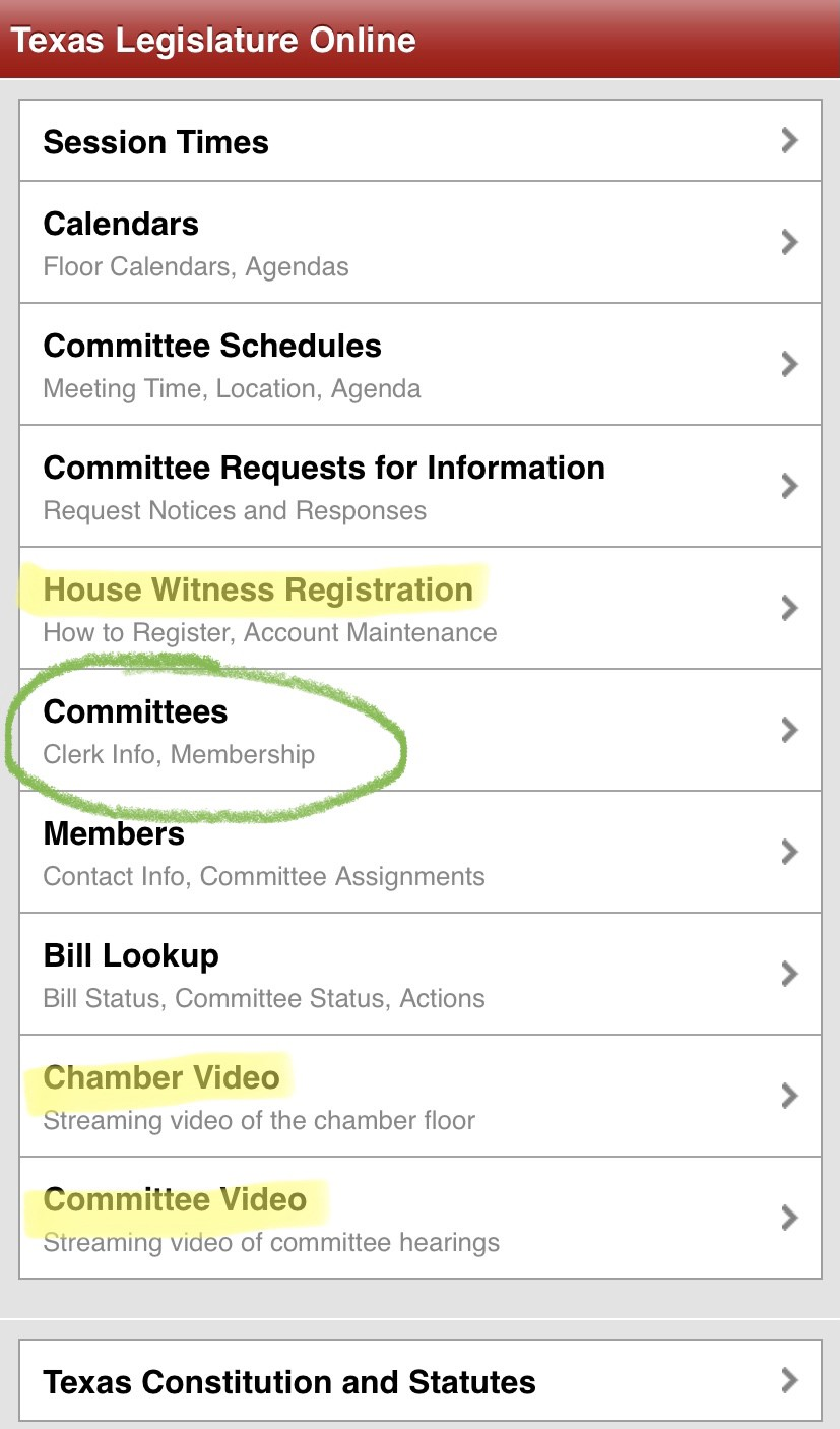 """Mobile interface for the Texas Legislature website, highlighting """"Committees,"""" """"House Witness Registration,"""" and livestreams"""