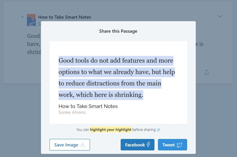 Readwise highlight share feature