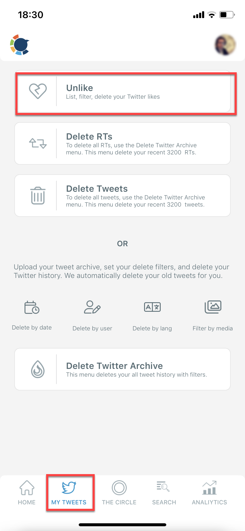 Delete Twitter likes with Circleboom App