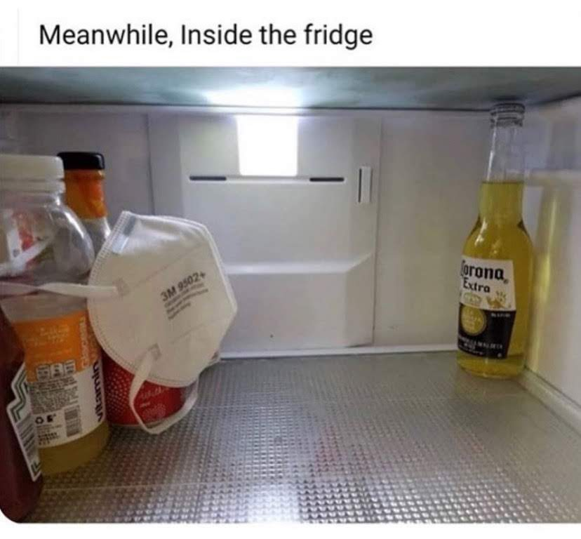 Image inside a refrigerator where bottles are holding back from a bottle of Corona beer and protecting themselves with an N95 respirator.