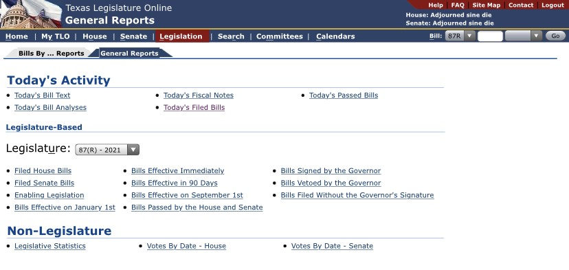 """""""Today's Activity"""" and other general report options on the Texas Legislature website"""