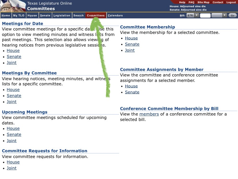 Committees page on the Texas Legislature website, with an arrow pointing to its location on the top menu