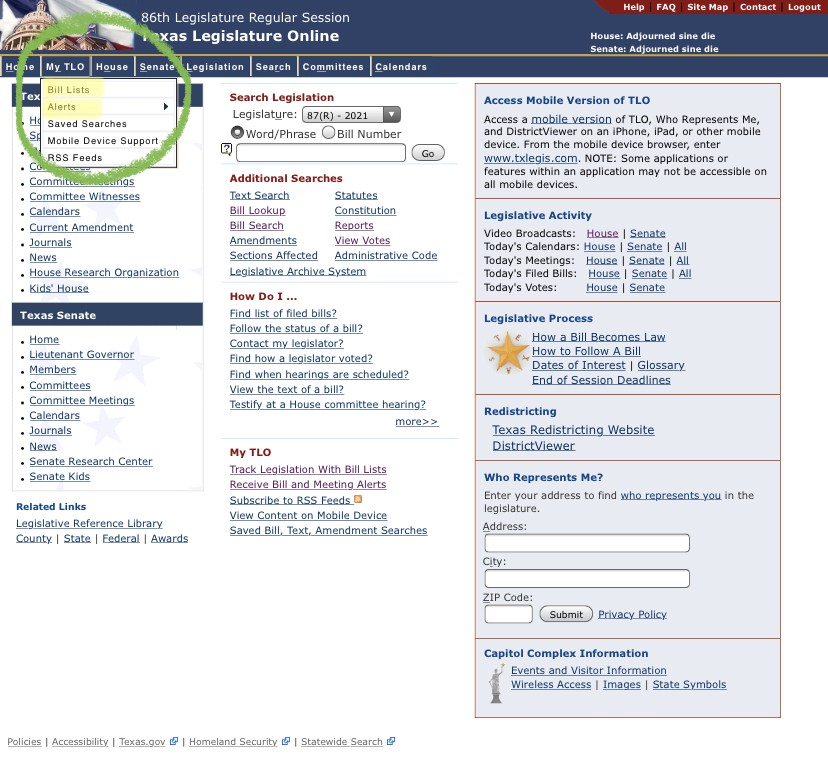 """Texas Legislature homepage with top-menu item """"My TLO"""" open, showing options """"Bill Lists,"""" """"Alerts,"""" and more"""