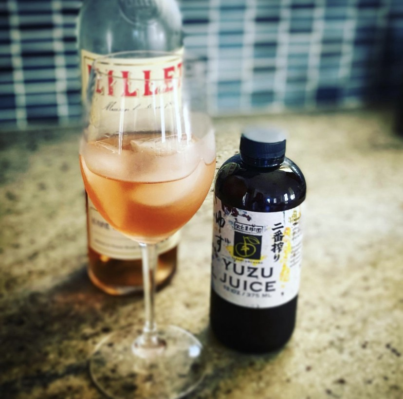 Lillet with Yuzu Juice in a Wine Glass