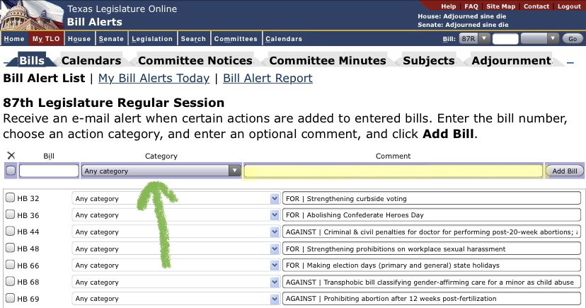 """Bill alert function on the Texas Legislature website, showing """"category"""" and """"comment"""" options"""