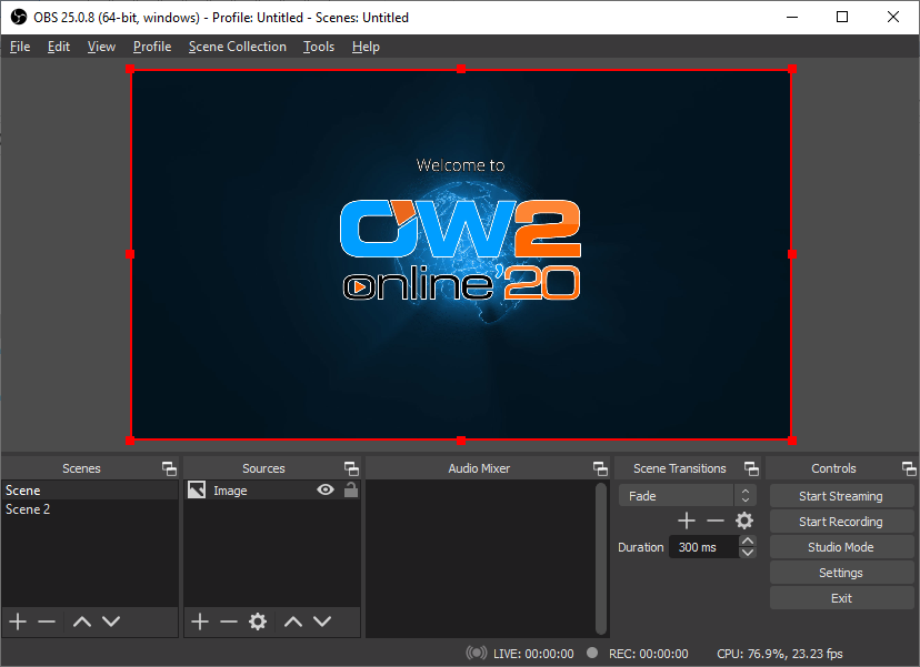 OBS configured and ready for broadcasting