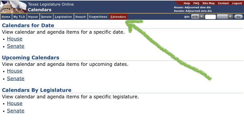 Calendars page of the Texas Legislature website with an arrow to its location in the top menu