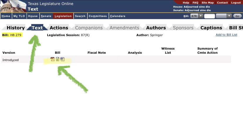 Options for viewing a bill's text on the Texas Legislature website