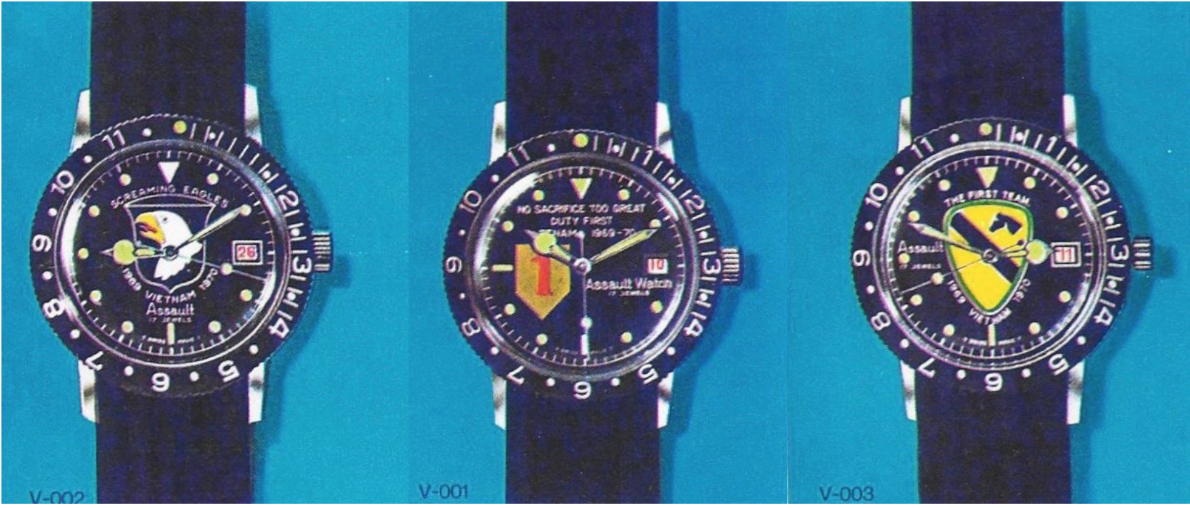 OW created watches to honour specific military units, branches and ranks. The 101st Airborne Division, aka 'Screaming Eagles' (left). The 1st Infantry Division, officially nicknamed 'The Big Red One', with their motto ' No sacrifice too great — duty first' (middle). The 1st Cavalry Division — 'First Team' — once served as a horseback cavalry division, hence a horse's head insignia (right).