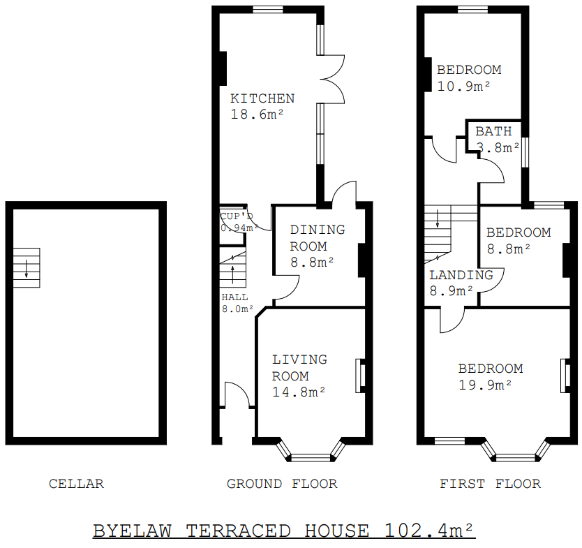 Floor plans for a large Victorian terraced house.