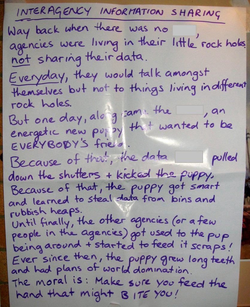 An example of one of the story spine stories from our knowledge strategy workshops