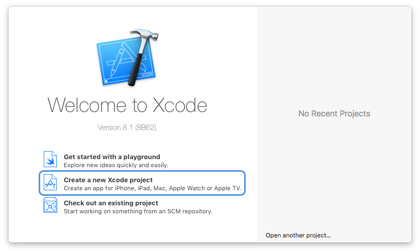 Xcode with create a sticker pack project selected