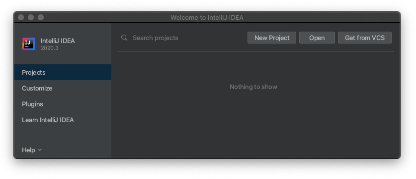 IntelliJ IDEA welcome screen with the New Project option