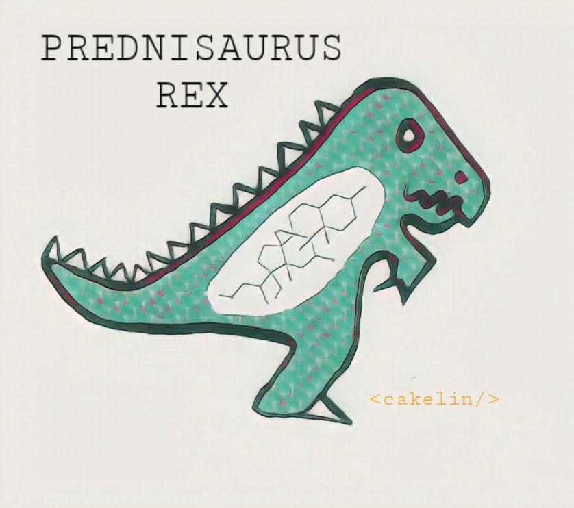 "Image of a ""Prednisaurus Rex"", a green dinosaur with a prednisone molecule in its belly. By <cakelin/>"