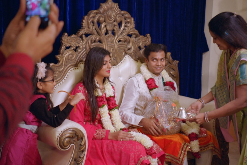 "A screenshot of Radhika and Akshay during their engagement ceremony from the Netflix show ""Indian Matchmaking."""