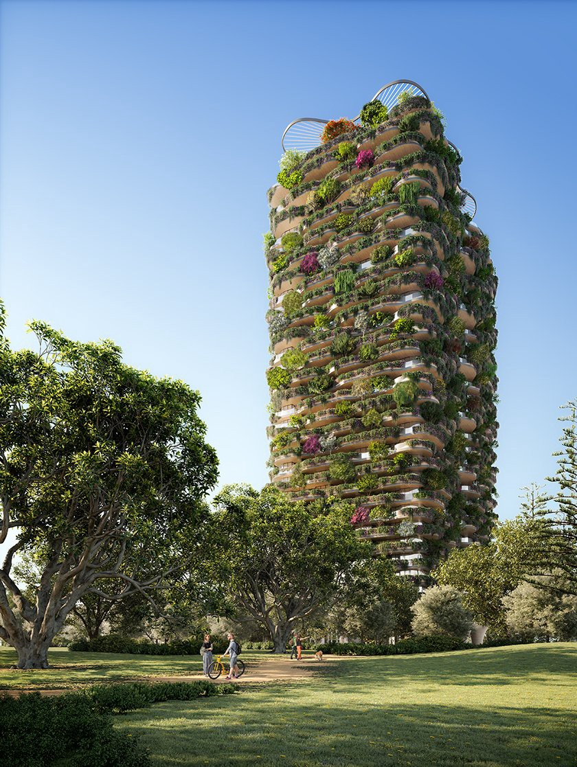 Not just an iconic addition to the Brisbane skyline, Urban Forest by Koichi Takada Architects is a statement on the potential for greening cities worldwide. Set to be completed in 2024, the tower will include a solar farm, a gray water recycling system, and a water filtering system for the 1,000 trees and 20,000 native plants. (Render: Koichi Takada Architects, Evergreen Architecture)