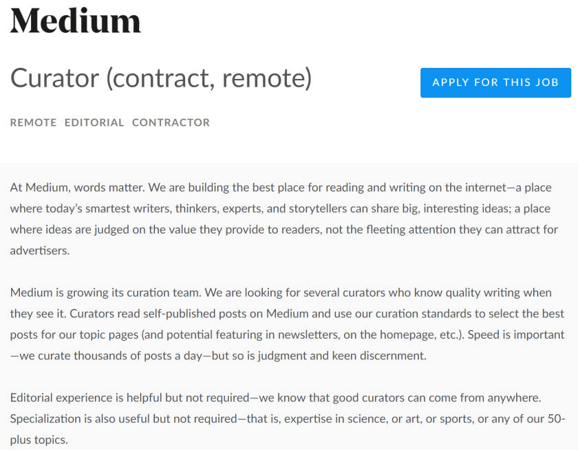 medium curator, medium curation, how to get curated on medium, medium article curated, medium story curation, medium curate