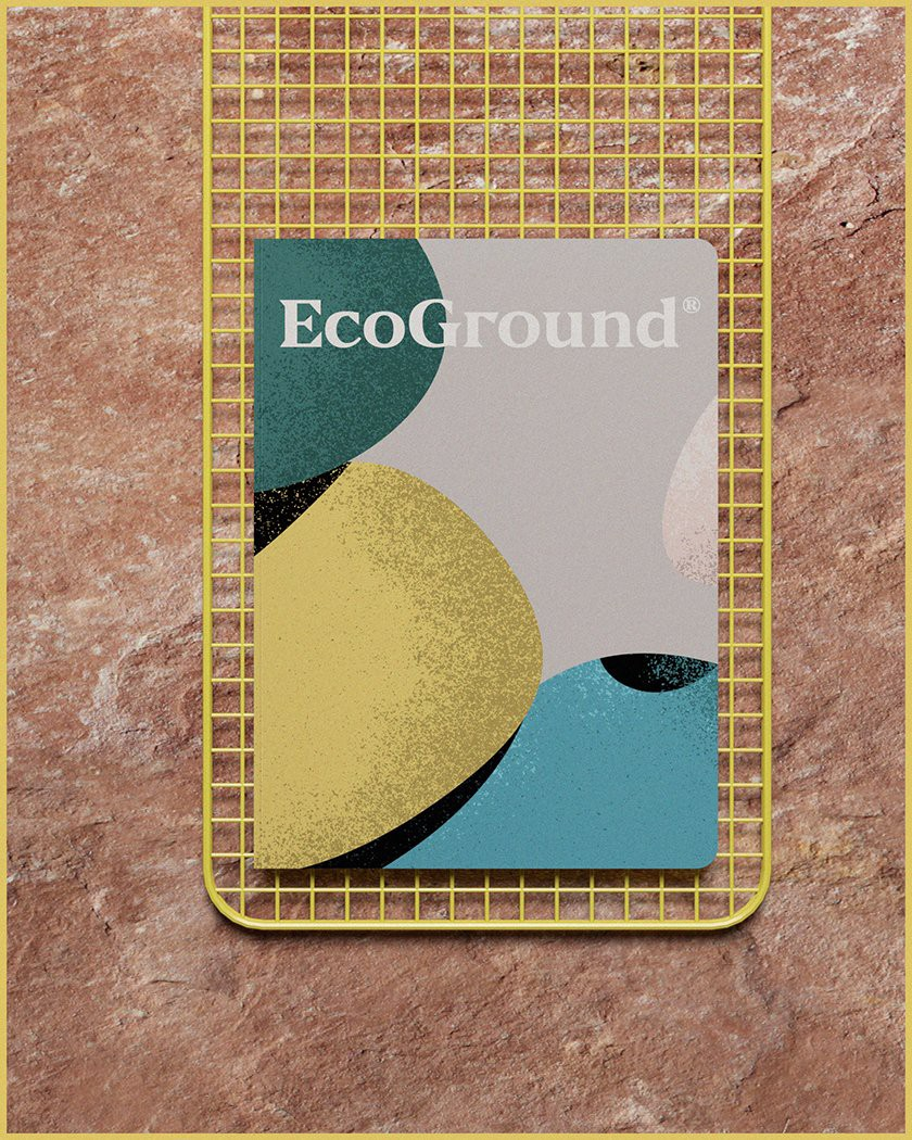 Husband and wife studio MENTA PICANTE created the visual identity for EcoGround in Mexico.They created forms that fit together to assemble and make a high structure with different colors to point out the different roles involved in taking a sprout to a grown plant that gives its produce. (Photo: MENTA PICANTE, Brand New Brand)