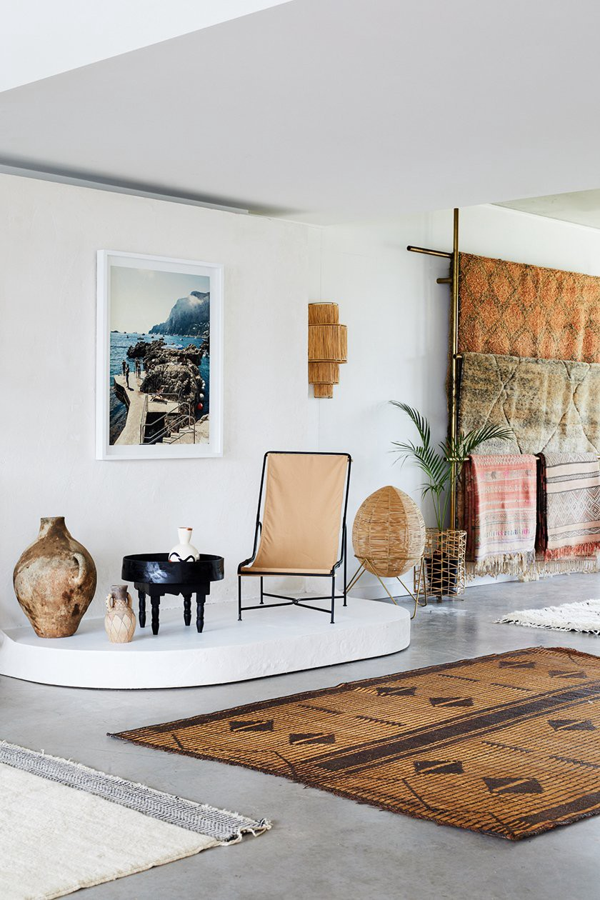 Tigmi Trading imports new and vintage rugs from Morocco to their boutique in Byron Bay. (Photo: Alicia Taylor, The New Medite