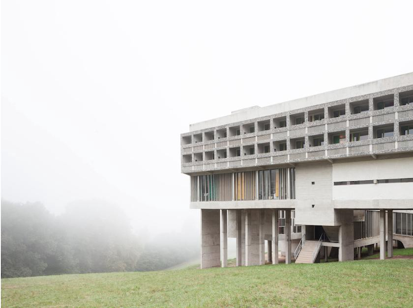 The five-story structure of Couvent Sainte-Marie de La Tourette contrasts with its pastoral setting. Sections of the building