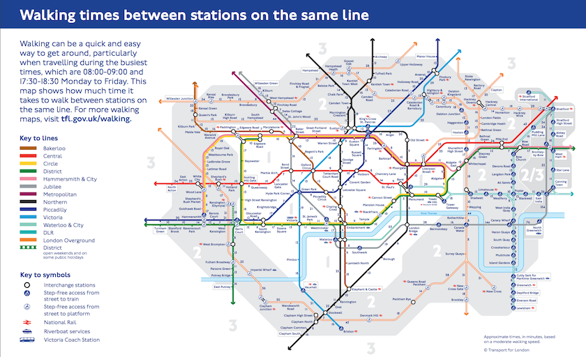 map of London Tube with number of minutes to walk from one station to the next on the same line