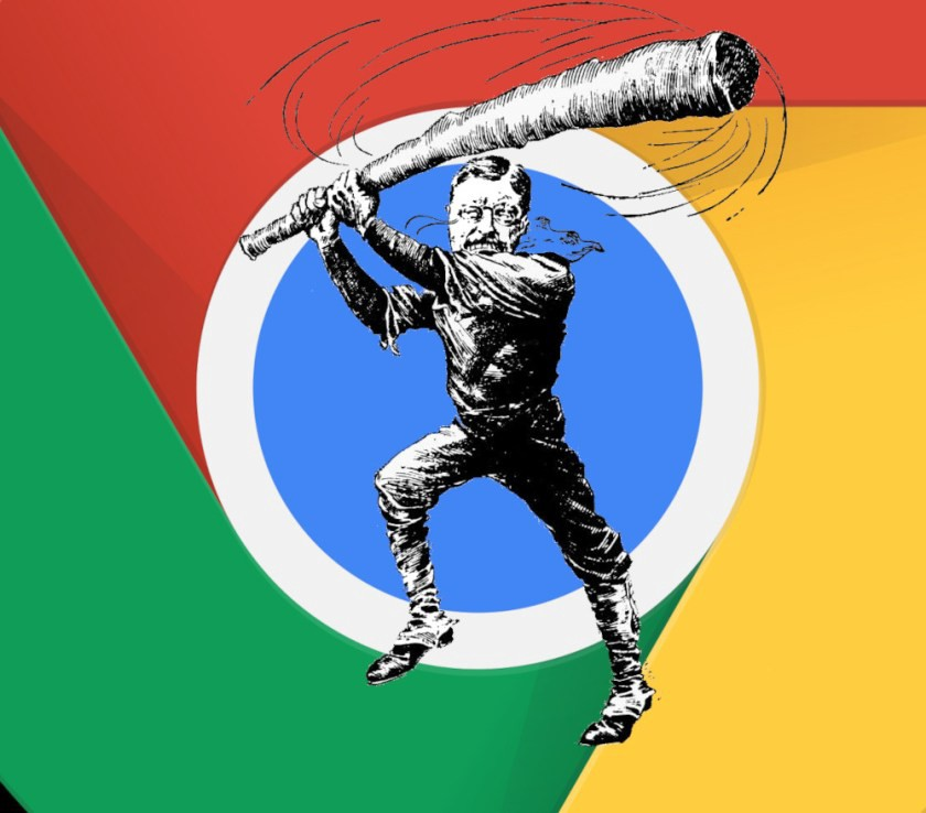 The Google Chrome Logo with an vintage editorial cartoon of Roosevelt as a club-wielding trustbuster superimposed over it.