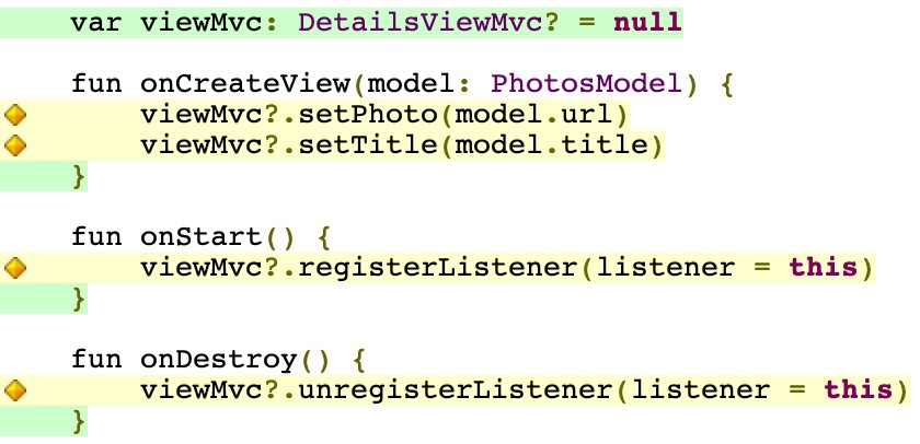The coverage report for the DetailsController showing missing branch coverage whenever null safety is not tested
