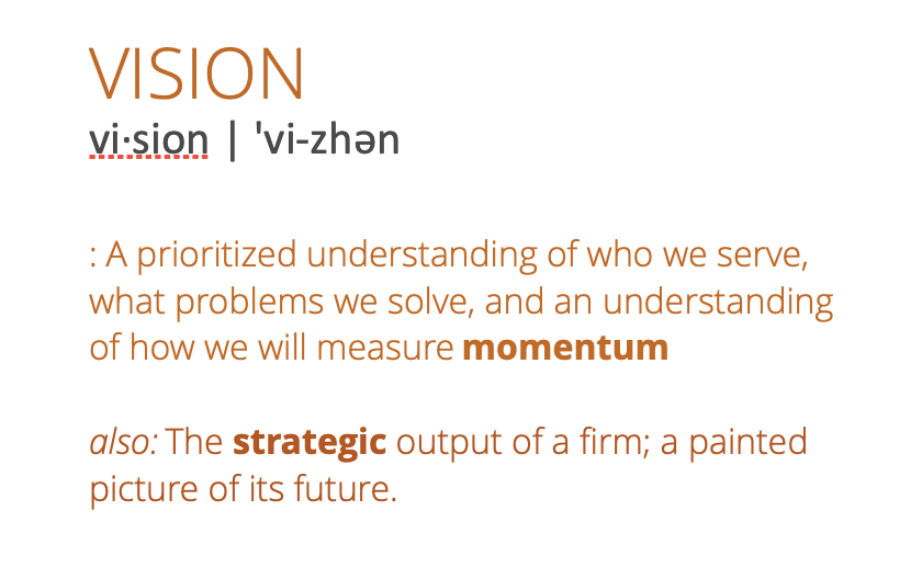 A prioritized understanding of who we serve, what problems we solve and an understanding of how we will measure momentum. Also: The strategic output of a firm; a painted picture of its future