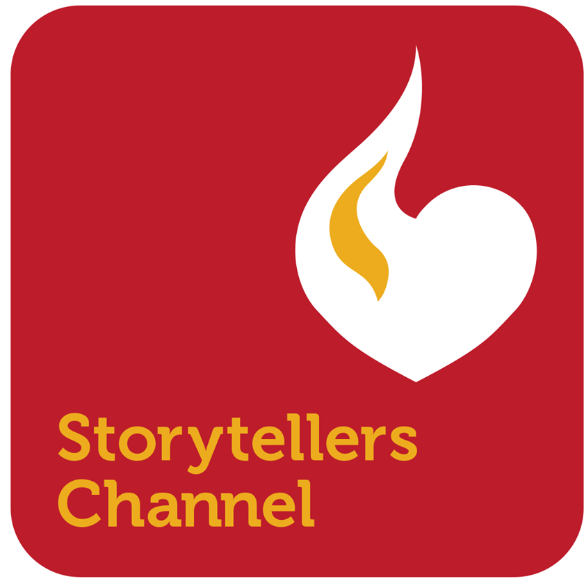This is a red, yellow and white logo for the Storytellers Channel.