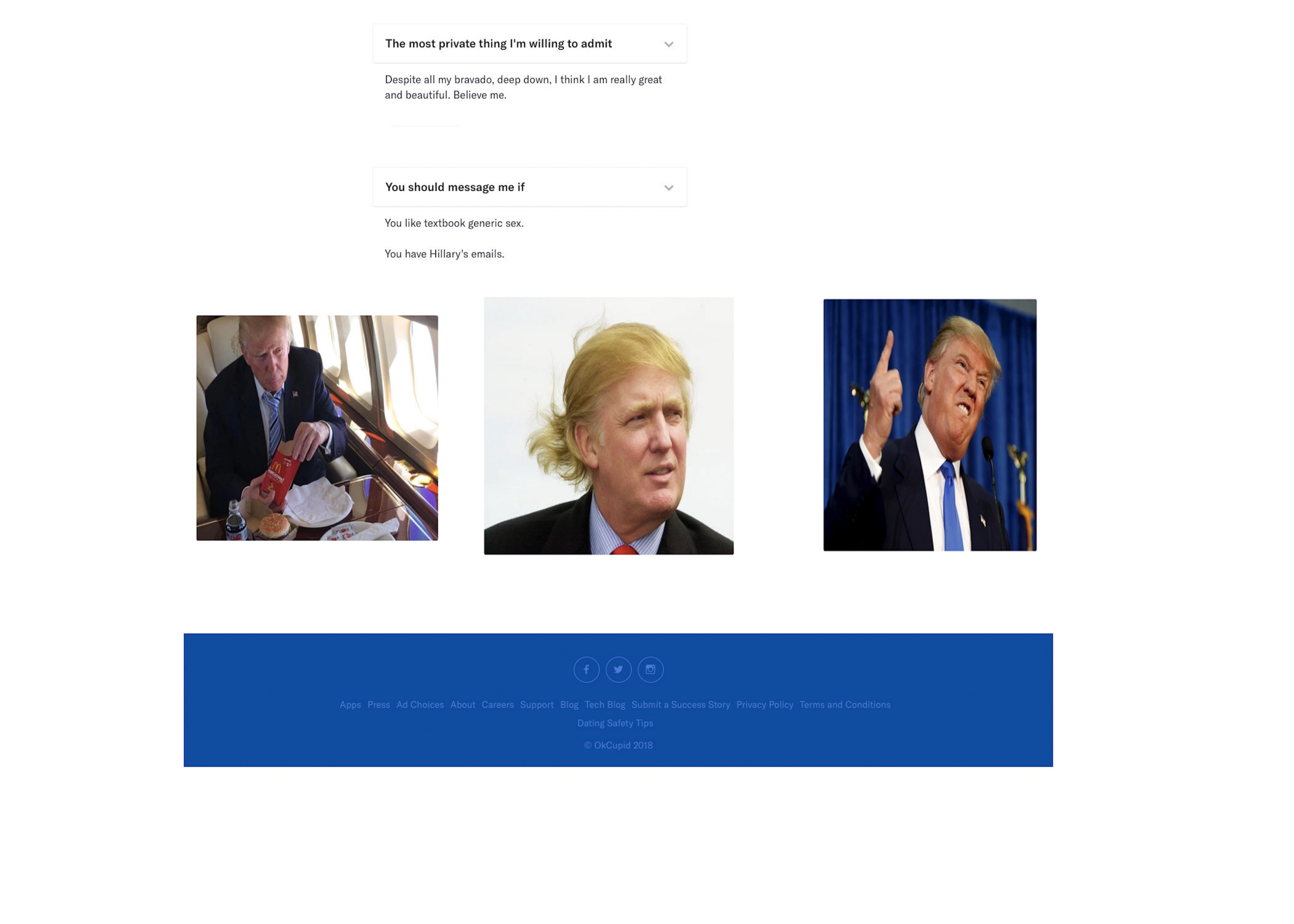 Breaking: Donald Trump's OKCupid Profile Discovered and Revealed