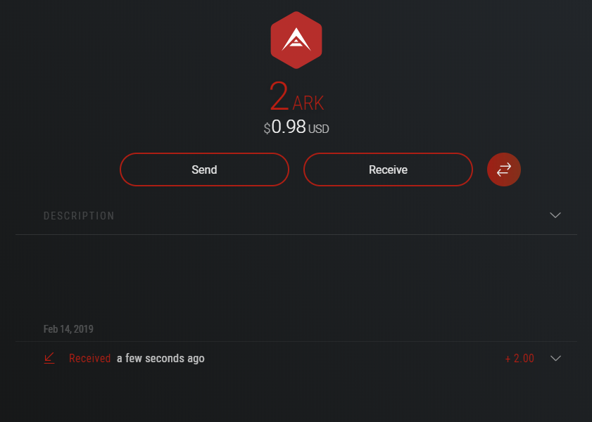 You can easily send or receive ARK within Exodus wallet.