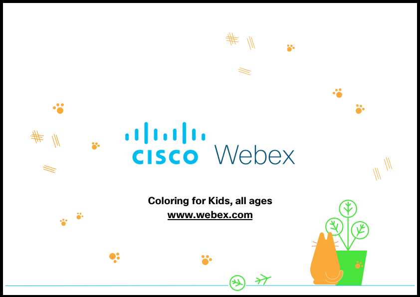 An illustration of a cat, a plant and a wall covered in paw prints and scratches. In the centre is the Cisco Webex logo
