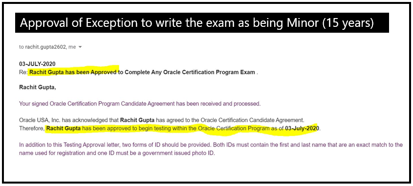 Rachit Gupta (15) is Youngest Cloud Certified Architect and Administrator, 3 Oracle Cloud Certificates, granted Exception as