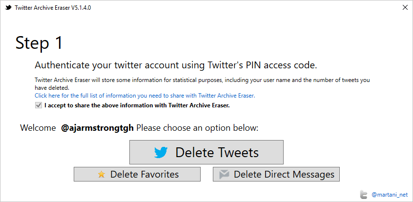 Twitter — Delete all Tweets, DM's and Favourites